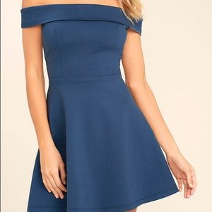 Lulu's Off-the-Shoulder Blue Skater Dress